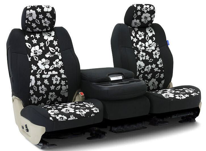 Installed Hawaiian 40/20/40 Front Seat Covers Black with BlackSaab