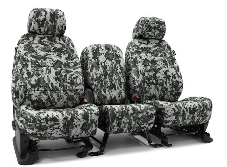 Installed Military Camo 40/20/40 Front Seat Covers Digital Urban Camo for 2014 Ford Fusion