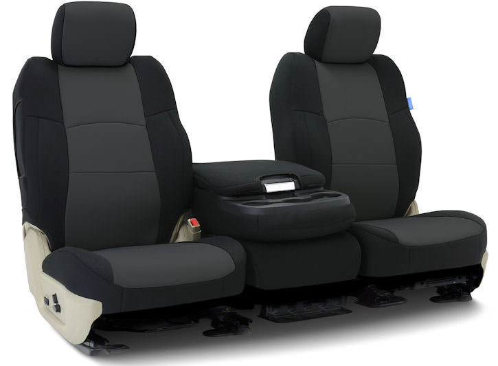 Installed Neo-Supreme 40/20/40 Front Seat Covers Black with CharcoalLand Rover