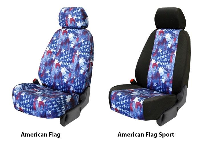 American Flag Slider Seats Min on Custom Dodge Dakota Seat Covers