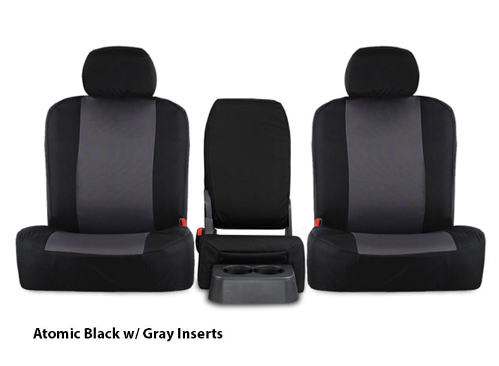 Installed Atomic Seat Covers Black with Gray Inserts