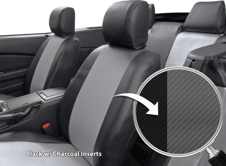 Installed Carbon Fiber Seat Covers Black with Charcoal Inserts Close Up of FabricAcura