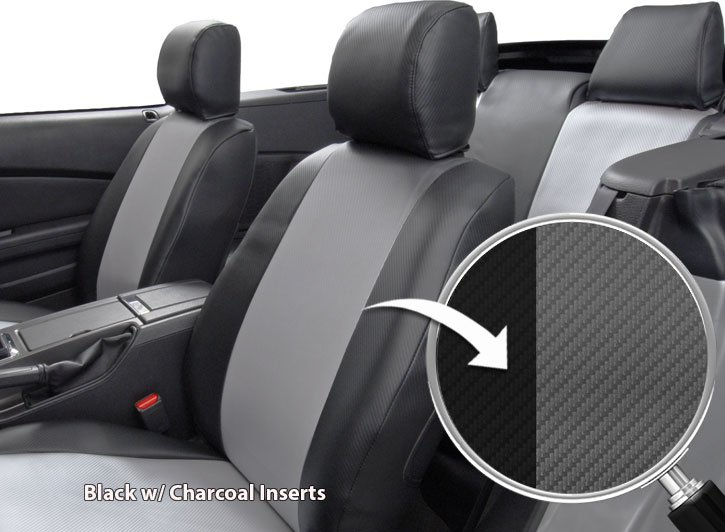 Installed Carbon Fiber Seat Covers Black with Charcoal Inserts Close Up of FabricScion