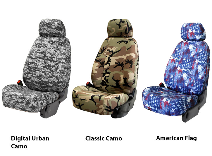 Three Military Camo Seat Covers Digital Urban Classic and American Flag