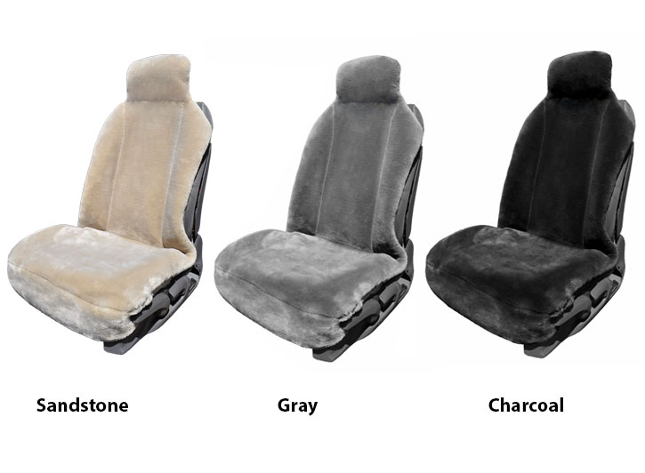 Two Installed Premium Fleece Faux Fur Seat Covers Sandstone and Gray