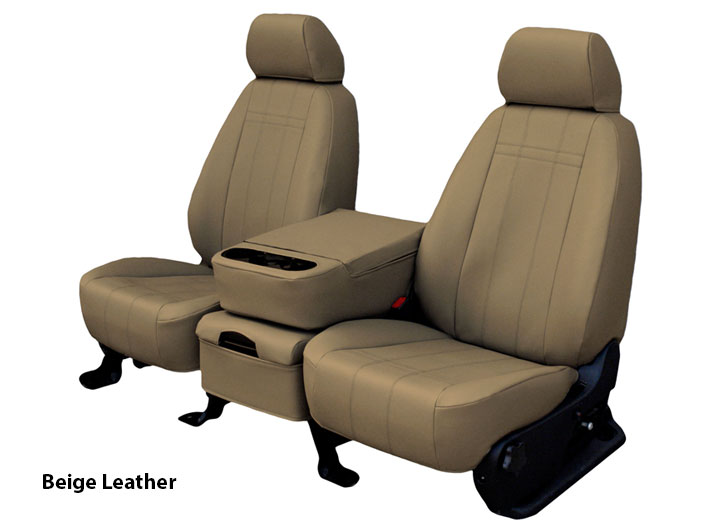Installed Custom Leather Seats Beige Seat Covers Charcoal