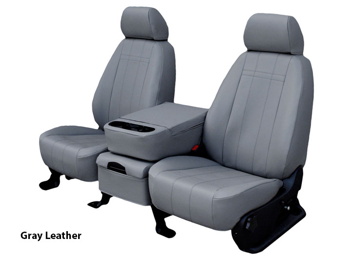 Installed Genuine Leather Seat Covers Gray Leather