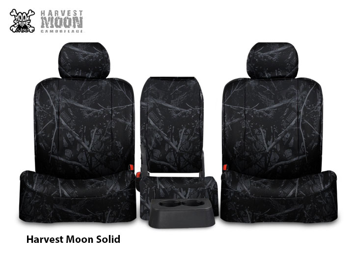 Installed 40/20/40 Moonshine Camo Seat Covers Solid Harvest MoonCadillac