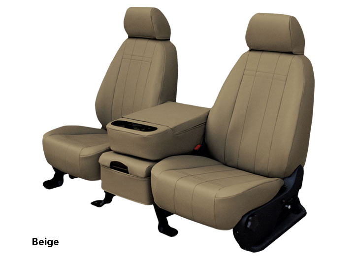 Installed Faux Leather Car Seat Covers Solid Beige