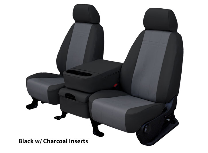 Installed Leatherette Seat Covers Black with Charcoal Inserts for 2013 Ford Mustang