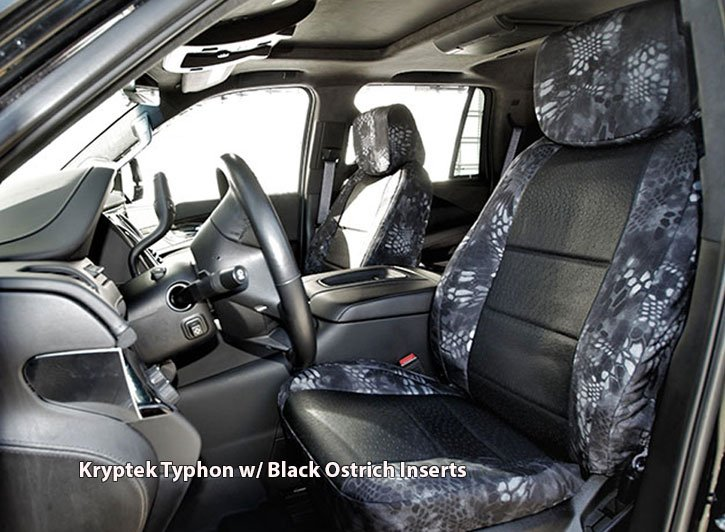 Installed Kryptek Seat Covers Typhon with Black Ostrich InsertsSaab
