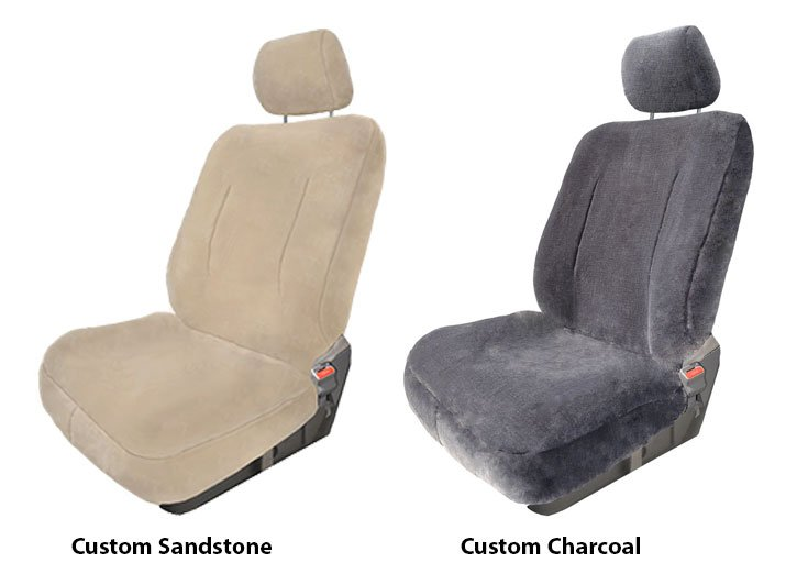 Two Installed Custom Luxury Fleece Seat Covers Sandstone And Charcoal