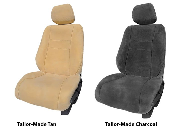 Two Installed Faux Sheepskin Seat Covers Tailor-Made Tan and Charcoal for 2014 Ford Fusion
