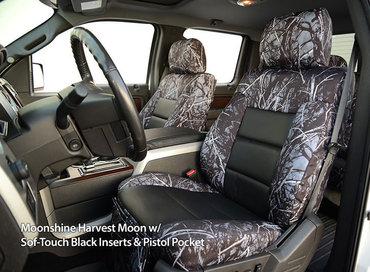 Installed Luxury Moon Shine Camo Seat Covers Harvest Moon with Black Inserts for 2014 Ford Fusion
