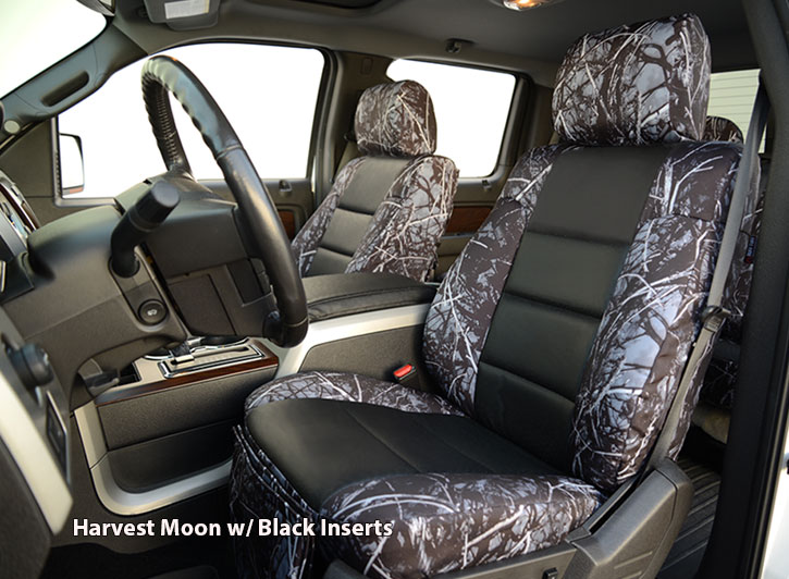 Installed Luxury Moon Shine Camo Seat Covers Harvest Moon with Black Inserts