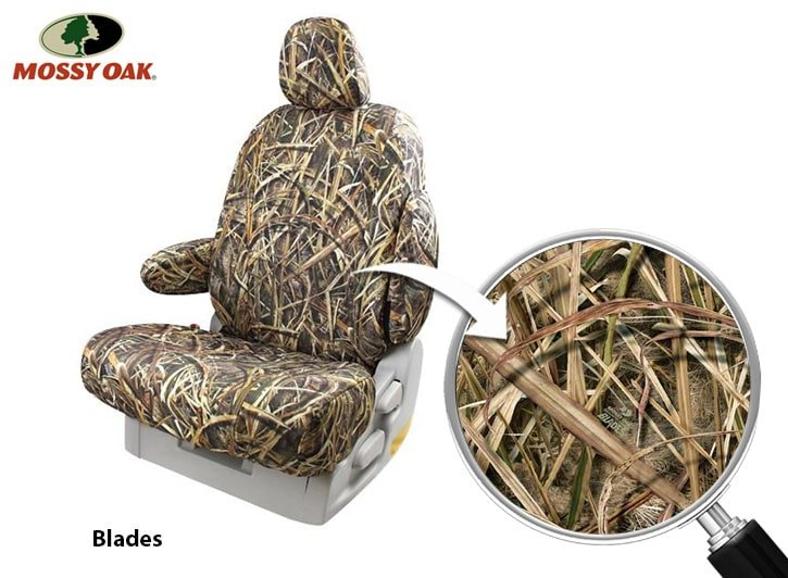 Installed Mossy Oak Seat Covers Blades with Close Up of FabricDodge