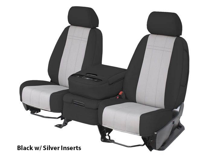 Three Installed Neoprene Seat Covers Silver Black and RedFord F650/750 Series