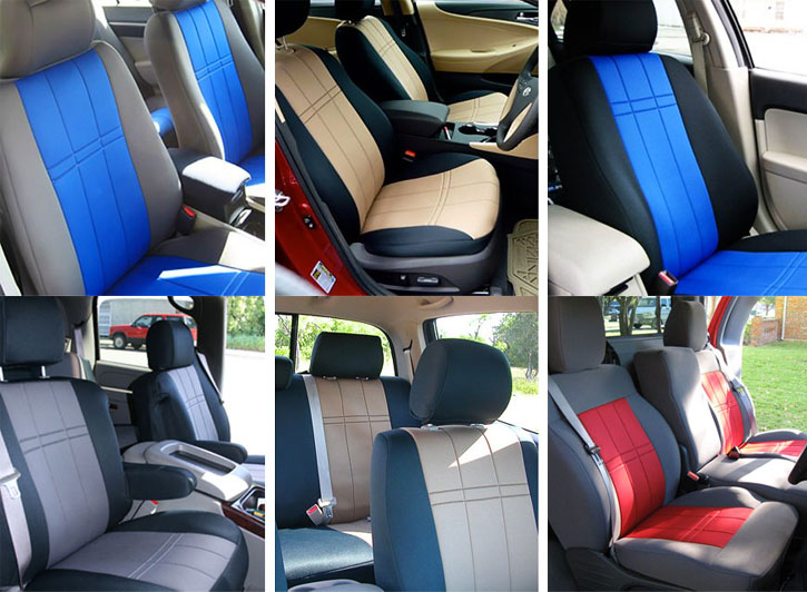 Six Installed Neoprene Seat Covers Gray W Blue Black Tan