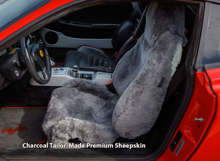 Installed Sheepskin Car Seat Covers Charcoal Tailor-Made PremiumCadillac