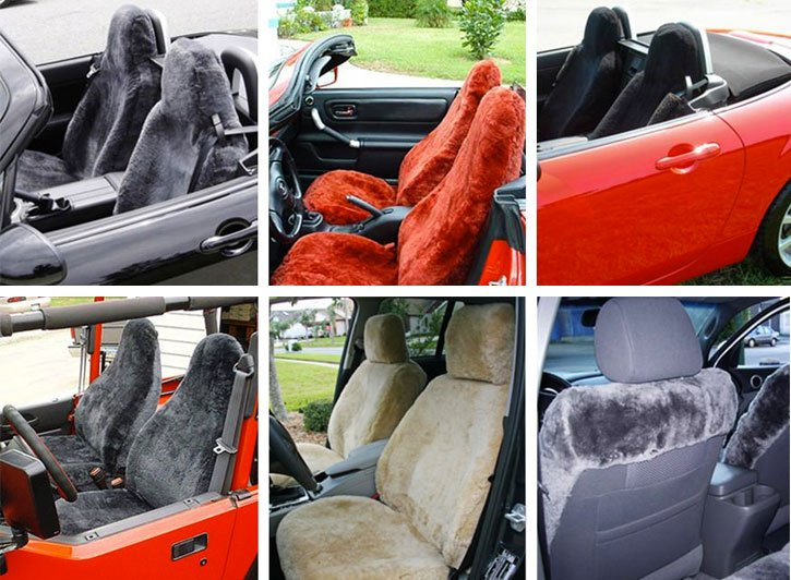 Installed Custom Sheepskin Seat Covers Red And Gray