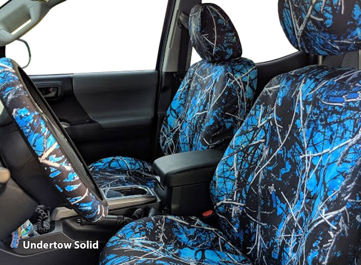 Installed Blue Camo Seat Covers Undertow Solid