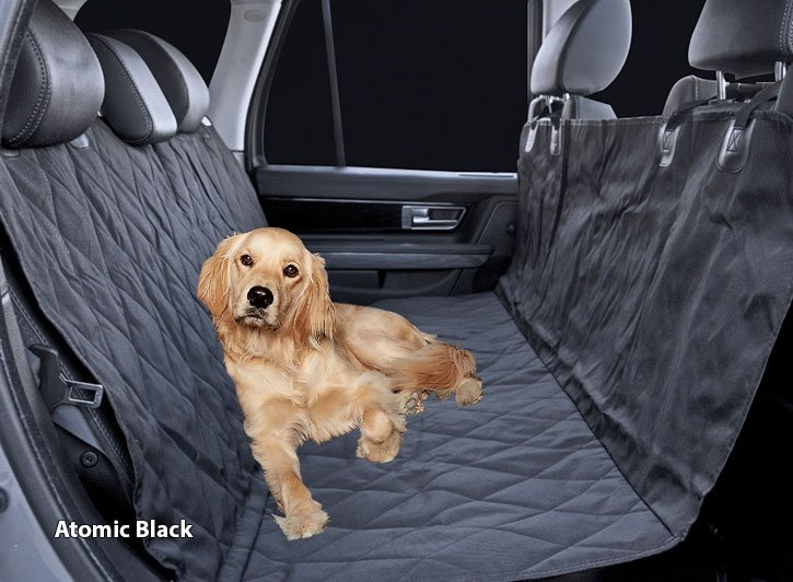 Dog on Installed Universal Camo Pet Seat Covers Atomic Black