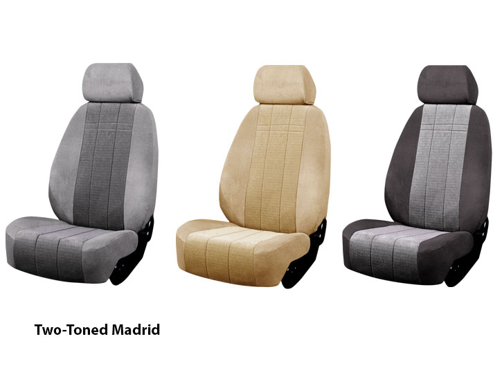 Three Installed Cloth Seat Covers Two Tone ColorsChrysler