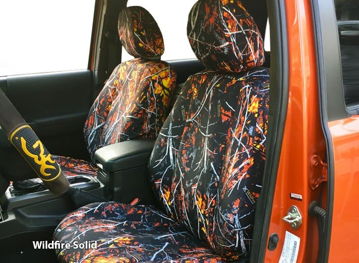 Installed Camo Seat Covers Wildfire SolidDodge Dakota