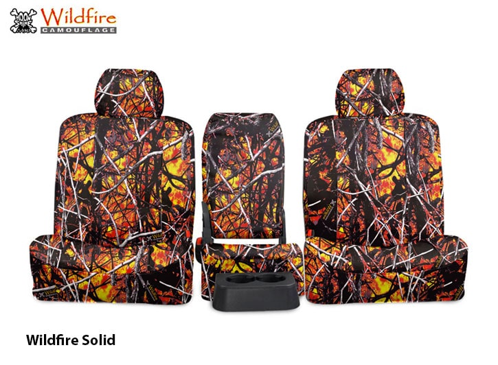 Installed Set of Camo Seat Covers Solid WildfireGMC Sierra
