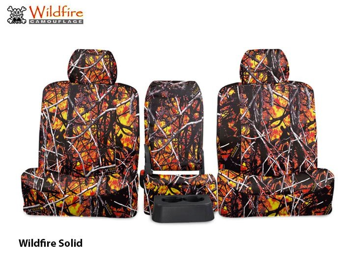 Installed Set of Camo Seat Covers Solid WildfireToyota Tundra